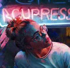 'Neon' artwork by Aaron Griffin UK. 'Неон' работа Аарона Гриффина Великобритания.  #иллюстрация #искусство #графика #холст #арт #art #illustration #pencil #drawing #draw #ink #oil #digitalart #mixedart #水彩画 #contemporaryart #sketchbook #graphic #timetoart