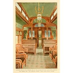 A souvenir of the Overland limited train 1897 Interior of the Buffet Smoking & Library car Canvas Art - Unknown (18 x 24)