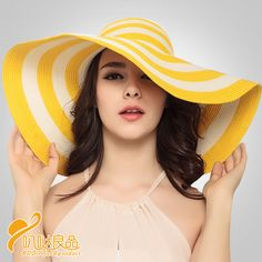 acb9e6bf296 Aliexpress.com   Buy 2016 Fashion Vintage Sun Hat Cyperus Papyrus Lovely  Yellow Striped Shading Hat Wide Brim Lady Outside Beach Cap Hat B 3204 from  ...