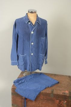1950s' H. Herzfeld Madison Avenue New York Mid Blue Pure Silk Pyjamas. eBay