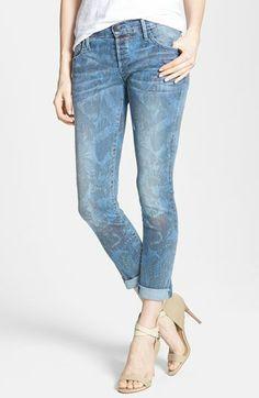 True Religion Brand Jeans 'Leona' Butterfly Print Skinny Jeans (Indigo Monarch)