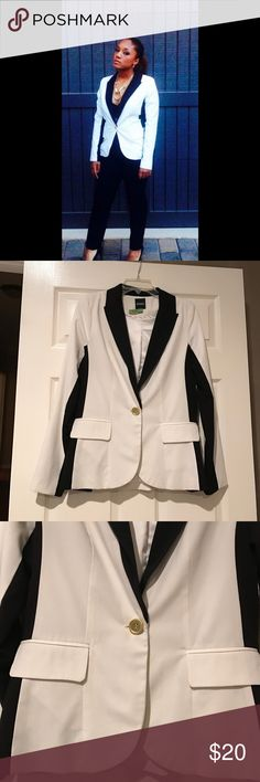 XOXO Stylish Black & White Tuxedo Jacket Stylish and great with any outfit, my daughter wore this XOXO Tuxedo Jacket twice. 63% Polyester, 33% Rayon and 4% Spandex, fully lined in great condition. Gold button. XOXO Jackets & Coats Blazers