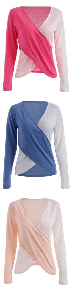 Long Sleeve Surplice T-shirt with Color Block
