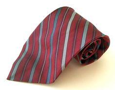 Jos. A. Bank Neck Tie Burgundy Blue Gray Striped 100% Silk #JosABank #NeckTie