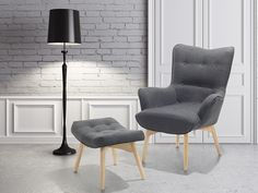 Fotel ciemnoszary + pufa - fotel tapicerowany - krzesło - VEJLE