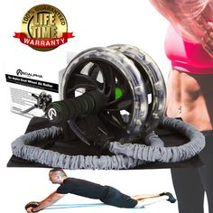 So Alpha Premium Dual Wheel Ab Roller with Resistance Bands with Foot Straps, Comfort Grip Handles, Knee Pad, Great for Home & Office, Shred Belly Fat & Strengthen Core, Ab Wheel For Men & Women. FINALLY AN AB ROLLER TOUGH ENOUGH FOR THE HULK. Our premium design dual wheel ab roller is made from superior quality steel and rubber to eliminate wobble while increasing stability and control. The ab roller can support up to 500 lbs., and is intended for everyone from beginner to pro-athlete…
