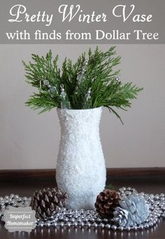 Pretty winter vase made with supplies from Dollar Tree.  This is actually pretty quick easy to make!