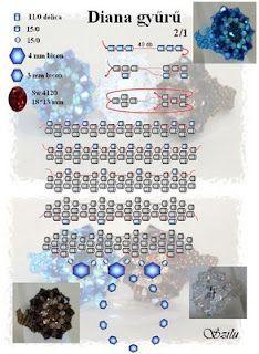 Szilu: Diana gyűrű Ring - page 1 of 2 Diy Beaded Rings, Beaded Anklets, Diy Rings, Beaded Jewelry, Jewelry Patterns, Beading Patterns, Diana, Ring Tutorial, Beading Tutorials