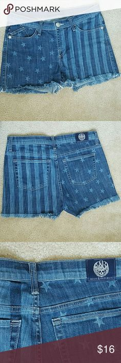 """Rock & Republic jean shorts size 10 Worn once. Stars and stripes.Still time to get it for the 4th. 2% spandex. Measurement over the zipper down 11"""" long. Waistline 34"""" backside waist down 15"""".  ????Bundle and save Rock & Republic Shorts Jean Shorts"""