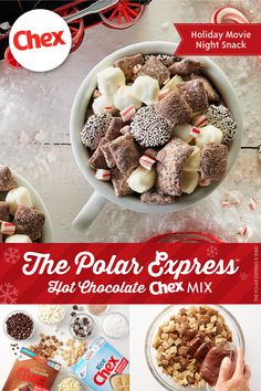 The Polar Express™ Hot Chocolate Chex™ Mix Fill up your cup with some delicious Polar Express™ Hot Chocolate Chex™ Mix Holiday Snacks, Christmas Snacks, Christmas Cooking, Holiday Recipes, Christmas Candy, Christmas Recipes, Xmas, Snack Mix Recipes, Candy Recipes