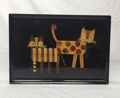 Couroc Inlaid Wood Brass Cats Bar Liquor Serving Resin Tray Mid Century Modern