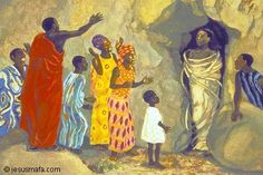 Jesus Mafa, painting of a Cameroon community acting out the raising of Lazarus - see all the details at Lent with Kids, Week Jesus is in Charge of Life Raising Of Lazarus, Black History Books, Black Jesus, Bible Pictures, Biblical Art, Lion Of Judah, Catholic Art, Religious Art, Bible Art