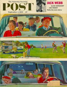 🌟Tante S!fr@ loves this📌🌟 love this one! Long Fun Day, art by John Falter. Detail from September 1959 Saturday Evening Post cover. Norman Rockwell, Vintage Cards, Vintage Images, Vintage Prints, Vintage Posters, The Saturdays, Saturday Evening Post, Photo Vintage, Car Illustration