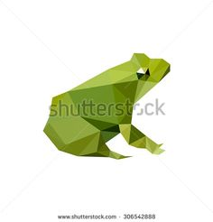 Illustration of modern flat design with origami frog, isolated on white…