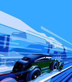 Fast is fast...: Blue train Bentley.