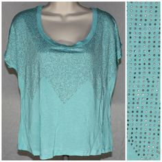 Charlotte Russe Blouse Small Teal Rhinestone Dolman Top Scoop Neck  #charlotterusse #blouse #teal #rhinestone #dolman #top