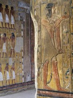 Imhotep horus in feline skin / ReliefEgypt, Luxor. Valley of the Kings. 19th dynasty, Seti I, 1304 – 1290 B.C. Tomb of Seti I (1304 – 1290 B.C.), main hall.