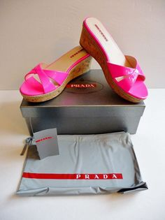 Prada Sandals NIB Vernice Rosa Fluo Pink Patent Cork Wedge Slides Sz 9 /39B $440 #PRADA #SlidesWedge