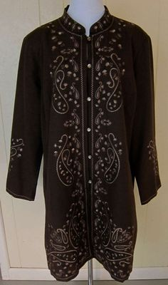 SilkLand Woman Women's Size 1X Brown Silk/Rayon Embroidered Tunic Jacket Blazer #Silkland #Tunic