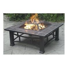 Fire Bowl: Square Wood Burning Steel Dark Brown Fire Pit with Granite Surround and Cover 34