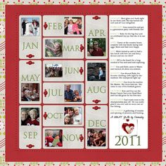 year in review scrapbook page layout