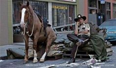 resting on set of the walking dead