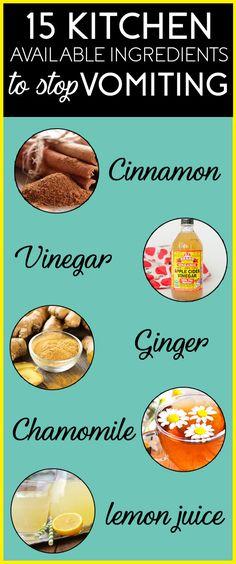 Kitchen ingredients that help stop vomiting.