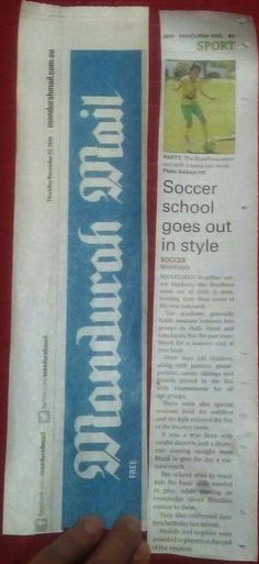 BrazRoos was in the paper Mandurah Mail ;-)  Our super soccer player Ethan is getting very famous!!!