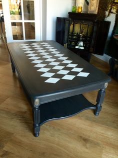 Old oak coffee table given a brand new look with Everlong noir and porcelain paint and s touch of silver gilding wax