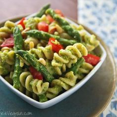 Pine nuts, nutritional yeast, and asparagus add flavor to this no-oil, vegan asparagus pesto. It's even better the next day!