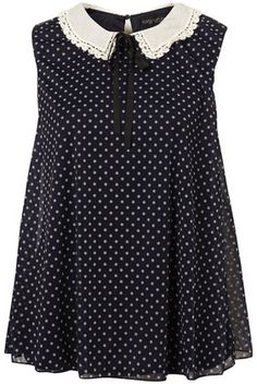 polka dot collar blouse