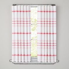 Wide-Ruled Curtain Panels, Pink - contemporary - kids decor - The Land of Nod