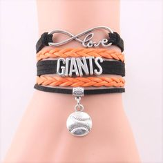 Infinity Love San Francisco Giants bracelet sport team baseball charm bracelets & bangles by TeeDeeStore on Etsy