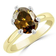 Oval Cognac-Brown Diamond Solitaire Engagement Ring