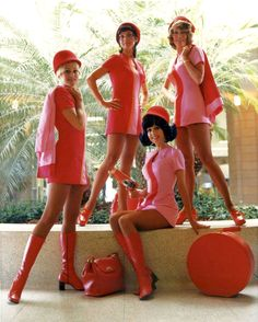 Swinging Sixties style meant matching staff to aircraft interior - vintage orange & pink Pacific Southwest Airlines stewardess uniforms