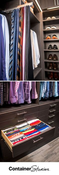 A walk-in TCS Closet with room for him! Cathy and James Crossno couldn't be happier with their new custom closet. James loves the way he can see all his T-shirts at a glance because of the way they are file-folded in the drawer. And the Extendable Tie Rack? It's one of his favorite parts of the new space!