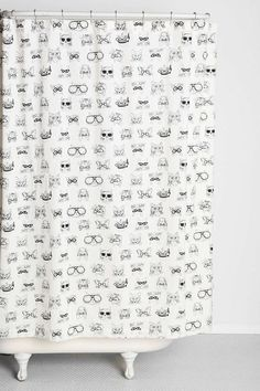 Plum & Bow Smart Cat Shower Curtain - Urban Outfitters