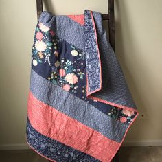 Baby Quilt, Toddler Quilt, Navy, Coral, Floral, Herringbone, Baby Shower Gift, Baby Gift, Baby Bedding, Nursery Bedding, Hawthorn Threads, by KenziesQuiltShop on Etsy https://www.etsy.com/listing/495956089/baby-quilt-toddler-quilt-navy-coral