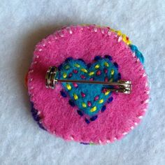 Freeform embroidery circle brooch bright floral brooch71