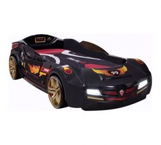 Cilek BiTurbo Carbed (Anthracite) with Mattress Kids Car Bed, Black Twins, Led Licht, Kid Beds, Dream Bedroom, Mattress, Lowes, Champion, Youth