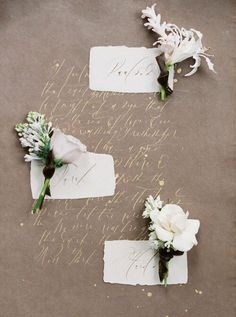 Brown handmade paper with gold calligraphy and walnut ink place cards paired with boutonnières by Pomona Floral and captured by Curved & Co. Fair Photography, Photography Workshops, Destination Wedding, Wedding Planning, French Wedding, Wedding Vendors, Wedding Inspiration, Wedding Ideas, Floral Wedding