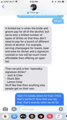 """""""Open bar"""", but limited drinks My Perfect Wedding, Cute Wedding Ideas, Wedding Goals, Wedding Tips, Wedding Engagement, Our Wedding, Dream Wedding, Wedding Details, Wedding Stuff"""