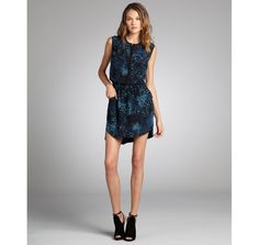 Rebecca Taylor navy and black silk feather printed pocketed sleeveless shirt dress