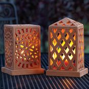 Terracotta Lanterns Openwork terracotta lanterns emit a lovely glow when lit, emphasizing the carved geometric design of each. Top lifts off base for placement of tea light or votive (not included). A SERRV exclusive. This item was de Hand Built Pottery, Slab Pottery, Ceramic Pottery, Ceramic Lantern, Ceramic Candle Holders, Ceramic Lamps, Ceramic Boxes, Ceramic Clay, Ceramics Projects