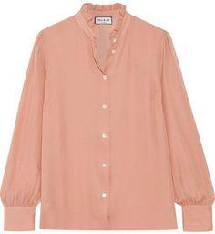 Paul & Joe - Zelina Ruffled Silk-georgette Shirt - Blush  #affiliate