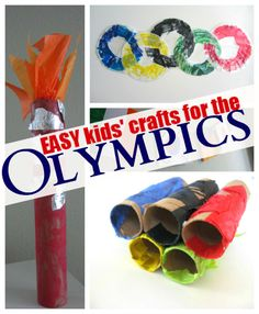 Easy Olympic themed crafts for kids. where was this last week when i was looking for olympic crafts? Easy Crafts For Kids, Craft Activities For Kids, Summer Crafts, Preschool Activities, Projects For Kids, Fun Crafts, Art For Kids, Diy And Crafts, Arts And Crafts