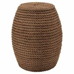 """Stool with a coiled rope design and wood frame.  Product: StoolConstruction Material: Wood and ropeColor: BrownDimensions: 20"""" H x 16"""" Diameter"""