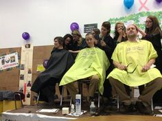 It takes a village! Teams of stylists help take on the students & faculty of Orchard Park High School.
