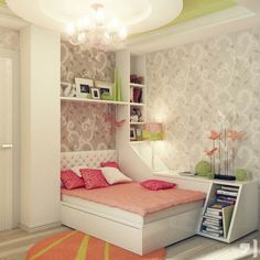 Peach Green Gray Girls Bedroom - shelving could cover her radiator