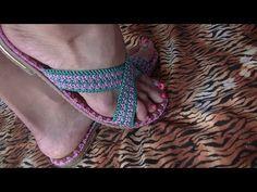 YouTube Crochet Sandals, Crochet Slippers, Crochet Crop Top, Knit Crochet, Spring Boots, Knit Shoes, Crochet Videos, Chrochet, Ciabatta